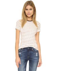weißes und rotes horizontal gestreiftes T-Shirt mit einem Rundhalsausschnitt von Edith A. Miller