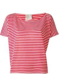 weißes und rotes horizontal gestreiftes T-Shirt mit einem Rundhalsausschnitt von Forte Forte