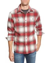 weißes und rotes Langarmhemd mit Schottenmuster