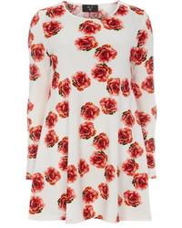 weißes und rotes schwingendes Kleid mit Blumenmuster