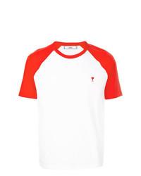 weißes und rotes T-Shirt mit einem Rundhalsausschnitt