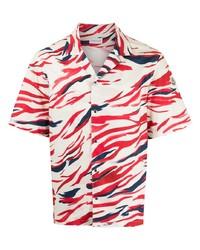 weißes und rotes und dunkelblaues bedrucktes Kurzarmhemd von Moncler