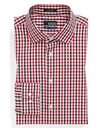 weißes und rotes und dunkelblaues Businesshemd mit Vichy-Muster