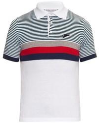weißes und rotes und dunkelblaues horizontal gestreiftes Polohemd