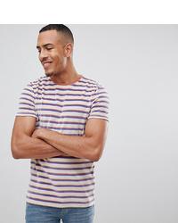 weißes und rotes und dunkelblaues horizontal gestreiftes T-Shirt mit einem Rundhalsausschnitt von ASOS DESIGN
