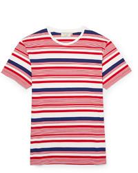 weißes und rotes und dunkelblaues horizontal gestreiftes T-Shirt mit einem Rundhalsausschnitt von Kitsune