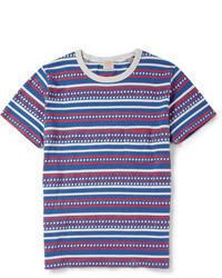 weißes und rotes und dunkelblaues horizontal gestreiftes T-Shirt mit einem Rundhalsausschnitt von Levi's
