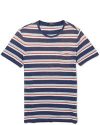 weißes und rotes und dunkelblaues horizontal gestreiftes T-Shirt mit einem Rundhalsausschnitt von Polo Ralph Lauren
