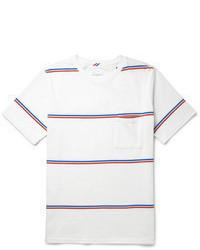 weißes und rotes und dunkelblaues horizontal gestreiftes T-Shirt mit einem Rundhalsausschnitt von Saturdays Surf NYC