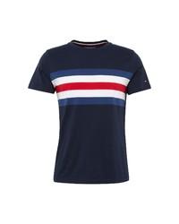 weißes und rotes und dunkelblaues horizontal gestreiftes T-Shirt mit einem Rundhalsausschnitt von Tommy Hilfiger