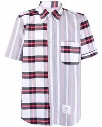 weißes und rotes und dunkelblaues Kurzarmhemd mit Schottenmuster von Thom Browne