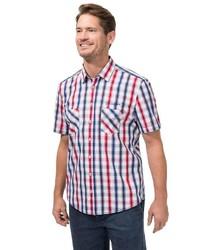 weißes und rotes und dunkelblaues Kurzarmhemd mit Vichy-Muster von Classic