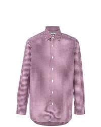 weißes und rotes und dunkelblaues Langarmhemd mit Schottenmuster von Fashion Clinic Timeless