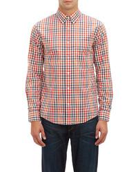 weißes und rotes und dunkelblaues Langarmhemd mit Vichy-Muster