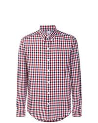 weißes und rotes und dunkelblaues Langarmhemd mit Vichy-Muster von Moncler