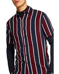 weißes und rotes und dunkelblaues vertikal gestreiftes Kurzarmhemd