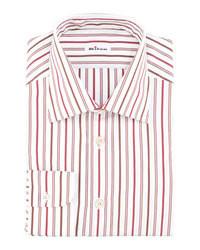 weißes und rotes vertikal gestreiftes Businesshemd