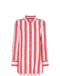 weißes und rotes vertikal gestreiftes Businesshemd von MARQUES ALMEIDA