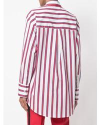 weißes und rotes vertikal gestreiftes Businesshemd von MSGM