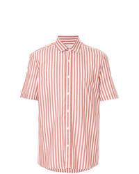 weißes und rotes vertikal gestreiftes Kurzarmhemd
