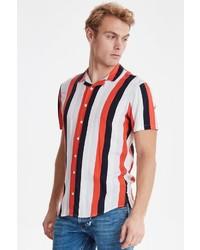 weißes und rotes vertikal gestreiftes Kurzarmhemd von BLEND
