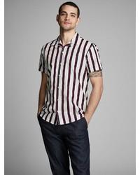 weißes und rotes vertikal gestreiftes Kurzarmhemd von Jack & Jones