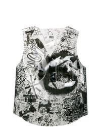 weißes und schwarzes bedrucktes ärmelloses Oberteil von MM6 MAISON MARGIELA