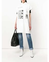 weißes und schwarzes bedrucktes Freizeitkleid von MM6 MAISON MARGIELA
