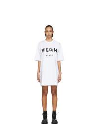 weißes und schwarzes bedrucktes Freizeitkleid von MSGM