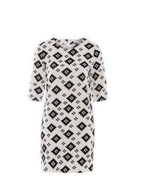 weißes und schwarzes bedrucktes gerade geschnittenes Kleid