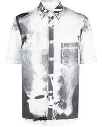 weißes und schwarzes bedrucktes Kurzarmhemd von Alexander McQueen