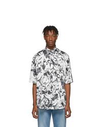 weißes und schwarzes bedrucktes Kurzarmhemd von Balenciaga