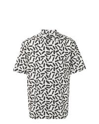 weißes und schwarzes bedrucktes Kurzarmhemd von Dolce & Gabbana