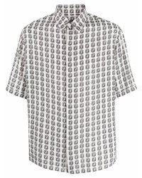 weißes und schwarzes bedrucktes Kurzarmhemd von Fendi