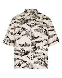 weißes und schwarzes bedrucktes Kurzarmhemd von Givenchy