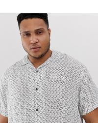 weißes und schwarzes bedrucktes Kurzarmhemd von Jack & Jones
