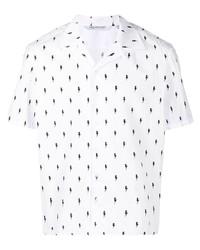 weißes und schwarzes bedrucktes Kurzarmhemd von Neil Barrett