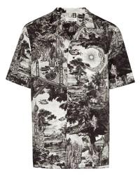 weißes und schwarzes bedrucktes Kurzarmhemd von Valentino