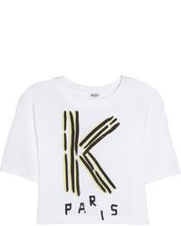 weißes und schwarzes bedrucktes kurzes Oberteil von Kenzo