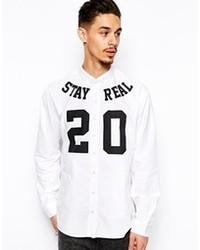 weißes und schwarzes bedrucktes Langarmhemd von A Question Of