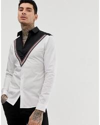 weißes und schwarzes bedrucktes Langarmhemd von ASOS DESIGN
