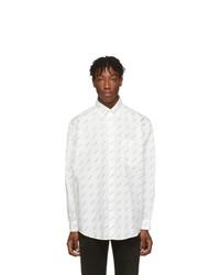 weißes und schwarzes bedrucktes Langarmhemd von Balenciaga