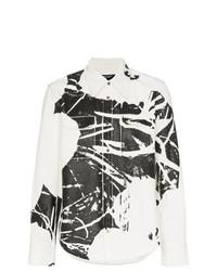 weißes und schwarzes bedrucktes Langarmhemd von Calvin Klein 205W39nyc