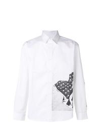weißes und schwarzes bedrucktes Langarmhemd von Calvin Klein Jeans