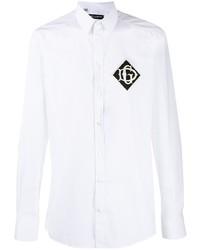 weißes und schwarzes bedrucktes Langarmhemd von Dolce & Gabbana
