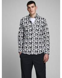 weißes und schwarzes bedrucktes Langarmhemd von Jack & Jones