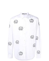 weißes und schwarzes bedrucktes Langarmhemd von McQ Alexander McQueen