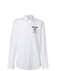 weißes und schwarzes bedrucktes Langarmhemd von Moschino
