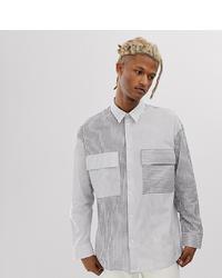 weißes und schwarzes bedrucktes Langarmhemd von Noak