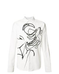 weißes und schwarzes bedrucktes Langarmhemd von Private Stock